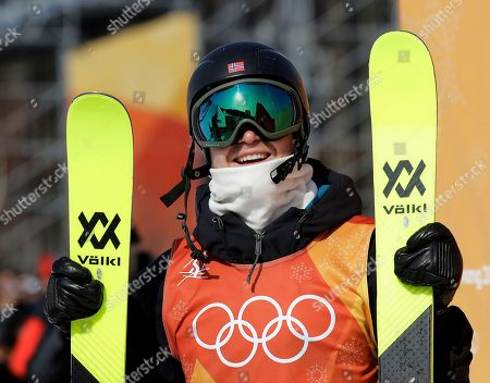 Stock Picture of Felix Stridsberg-Usterud, of Norway, looks at his score during the men's slopestyle qualifying at Phoenix Snow Park at the 2018 Winter Olympics in Pyeongchang, South Korea