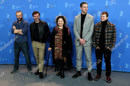 (L-R) French director Cedric Kahn, Spanish-German actor Alex Brendemuehl, German actress Hanna Schygulla, Belgian actor Damien Chapelle and French actor Anthony Bajon pose during a photocall for 'La priere' at the 68th annual Berlin International Film Festival (Berlinale), in Berlin, Germany, 18 February 2018. The Berlinale runs from 15 to 25 February.