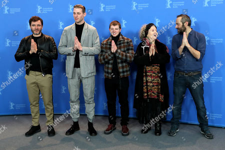 (L-R) Spanish-German actor Alex Brendemuehl, Belgian actor Damien Chapelle, French actor Anthony Bajon, German actress Hanna Schygulla and French director Cedric Kahn pose during a photocall for 'La priere' at the 68th annual Berlin International Film Festival (Berlinale), in Berlin, Germany, 18 February 2018. The Berlinale runs from 15 to 25 February.