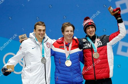 (from left) Silver medalist Nick Goepper of the USA, gold medalist Oystein Braaten of Norway and bronze winner Alex Beaulieu-Marchand of Canada during the medal ceremony for the men's Slopestyle Freestyle Skiing event at the PyeongChang 2018 Olympic Games, South Korea, 18 February 2018.