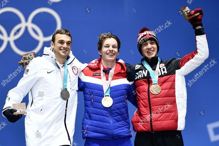 Stock Picture of (from left) Silver medalist Nick Goepper of the USA, gold medalist Oystein Braaten of Norway and bronze winner Alex Beaulieu-Marchand of Canada during the medal ceremony for the men's Slopestyle Freestyle Skiing event at the PyeongChang 2018 Olympic Games, South Korea, 18 February 2018.