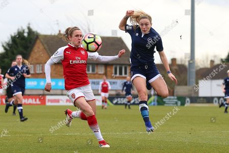 Megan Alexander of Millwall and Heather O'Reilly of Arsenal during Arsenal Women vs Millwall Lionesses, SSE Women's FA Cup Football at Meadow Park on 18th February 2018