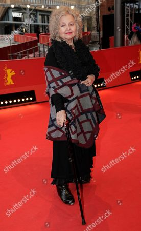 Actress Hanna Schygulla arrives for the screening of the film 'The Prayer' during the 68th edition of the International Film Festival Berlin, Berlinale, in Berlin, Germany