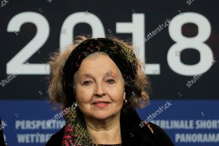 Actress Hanna Schygulla attends a news conference for the film 'The Prayer' during the 68th edition of the International Film Festival Berlin, Berlinale, in Berlin, Germany