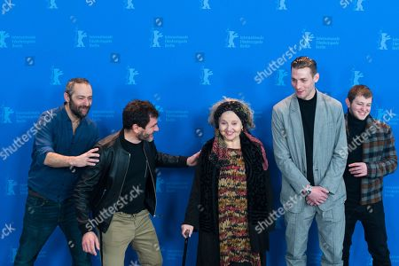 Director Cedric Kahn and the actors Alex Brendemuehl, Hanna Schygulla, Damien Chapelle and Anthony Bajon, from left, pose at a photo-call for the film 'The Prayer' during the 68th edition of the International Film Festival Berlin, Berlinale, in Berlin, Germany