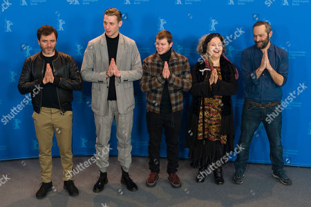 The actors Alex Brendemuehl, Damien Chapelle, Anthony Bajon, Hanna Schygulla and director Cedric Kahn, from left, pose at a photo-call for the film 'The Prayer' during the 68th edition of the International Film Festival Berlin, Berlinale, in Berlin, Germany