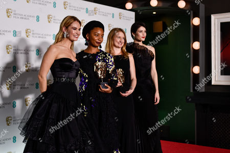 Rungano Nyoni and Emily Morgan - Outstanding Debut By A British Writer, Director Or Producer - 'I Am Not A Witch', presented by Lily James and Gemma Arterton