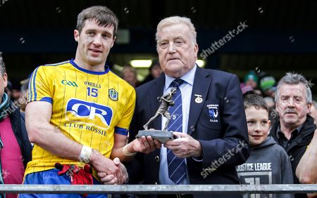 Roscommon vs Galway. Man of the match Cathal Cregg with Gerry McGovern