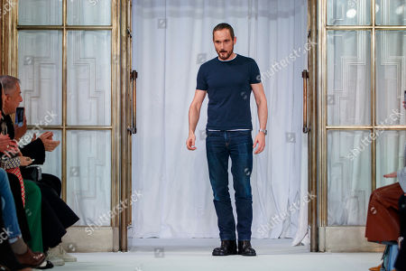 Stock Image of Designer Josep Font appears on the catwalk at the end of  DelPozo show during the London Fashion Week, in London, Britain, 18 February 2018.  The presentation of the Women's Fall-Winter 2018/2019 collections runs from 15 to 20 February.
