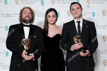 Stock Picture of Jonathan Amos and Paul Machliss ?Baby Driver? wins Best Editing presented by Hayley Squires