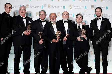 Alex Gibson, Mark Weingarten, Gregg Landaker, Richard King and Gary A. Rizzo ?Dunkirk? wins Best Sound presented by Will Poulter and Sam Claflin