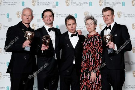 Stock Picture of Martin McDonagh, Pete Czernin, Sam Rockwell, Frances McDormand and Graham Broadbent ?Three Billboards Outside Ebbing, Missouri? wins Best Film