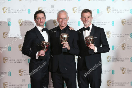 Peter Czernin, Martin McDonagh, Graham Broadbent. Producer Peter Czernin, from left, director Martin McDonagh and producer Graham Broadbent pose for photographers backstage with their Best British Film awards for 'Three Billboards Outside Ebbing, Missouri' at the BAFTA 2018 Awards in London