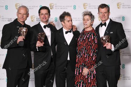 Sam Rockwell, Frances McDormand, Martin McDonagh, Graham Broadbent and Peter Czernin - Best Film - 'Three Billboards Outside Ebbing, Missouri'