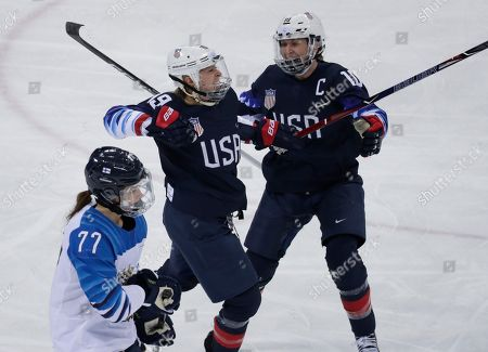 Gigi Marvin (19), of the United States, celebrates with Meghan Duggan (10) after scoring a goal against Finland during the first period of the semifinal round of the women's hockey game at the 2018 Winter Olympics in Gangneung, South Korea