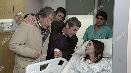 Ep 9383 Monday 19th February 2018 - 1st Ep Johnny Connor, as played by Richard Hawley, and Roy Cropper, as played by David Neilson, give Carla Connor, as played by Alison King, a kiss as she's wheeled away for her operation.