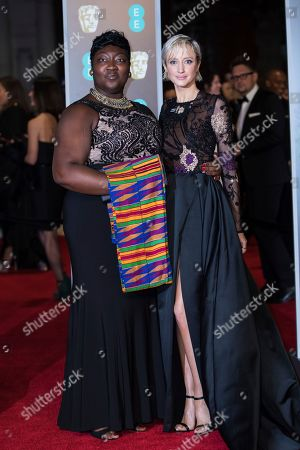 Phyll Opoku-Gyimah, Andrea Riseborough. Time's Up activist Phyll Opoku-Gyimah and Andrea Riseborough pose for photographers upon arrival at the BAFTA Awards 2018 in London