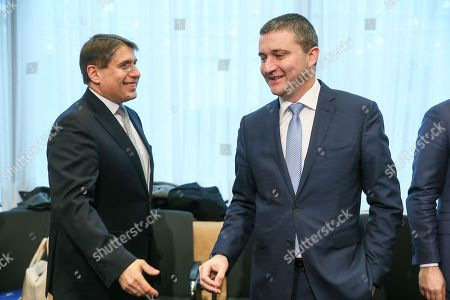 Director General of Business Europe Markus Beyrer and Bulgaria's Finance Minister Vladislav Goranov during a macroeconomic dialogue on the sidelines of the Economic and Financial Affairs Council (ECOFIN) at the European Council, in Brussels, Belgium, 19 February 2018.