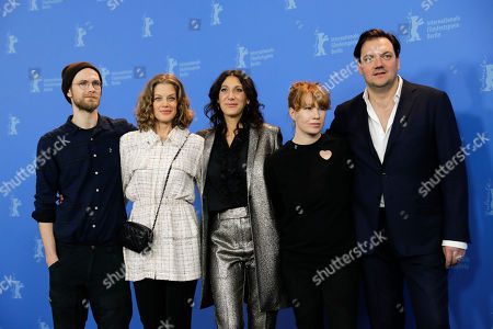 Actors Robert Gwisdek and Marie Baeumer director Emily Atef and the actors Birgit Minichmayr and Charly Huebner, from left, pose during a photo-call for the film '3 Days in Quiberon' during the 68th edition of the International Film Festival Berlin, Berlinale, in Berlin, Germany