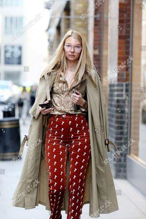 Editorial image of Street Style, Fall Winter 2018, London Fashion Week, UK - 18 Feb 2018