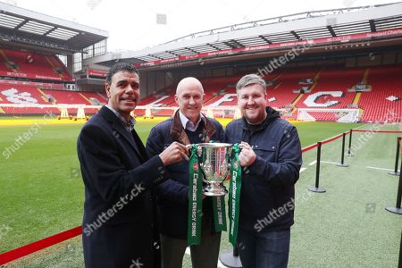 The Carabao Cup Trophy Relay at Anfield with Chris Kamara, former player Phil Neal and Darren Farley
