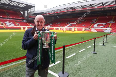 Stock Picture of The Carabao Cup Trophy Relay at Anfield with  former player Phil Neal