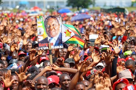 Movement For Democratic Change (MDC T) supporters gather to bid farewell to their late party leader, Morgan Tsvangirai, at the Freedom Square in Harare, Zimbabwe, 19 February 2018. Hundreds bid farewell to the party leader who died in South Africa on 14 February 2018 from colon cancer. The former Prime Minister will be buried in his rural home in Buhera, 270km east of Harare on 20 February 2018.