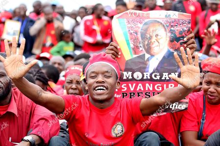 Movement For Democratic Change (MDC T) supporters gather to pay tribute for their late party leader, Morgan Tsvangirai, arrive at the Freedom Square in Harare, Zimbabwe, 19 February 2018. Hundreds bid farewell to the party leader who died in South Africa on 14 February 2018 from colon cancer. The former Prime Minister will be buried in his rural home in Buhera, 270km east of Harare on 20 February 2018.