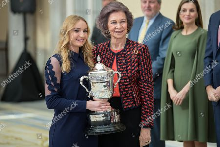 Stock Image of Former Queen Sofia and Laura Sarosi