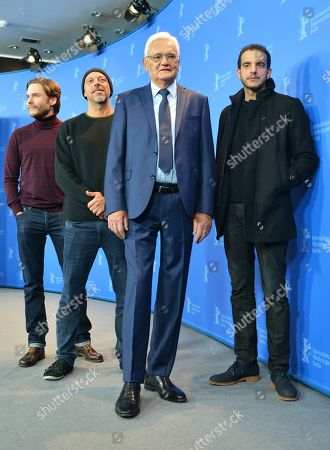 (L-R) German actor Daniel Bruehl, Brazilian film director Jose Padilha, Engineer Flight AF123 Jacques Lemoine and Moroccan actor Omar Berdouni  pose during a photocall for '7 Days in Entebbe' at the 68th annual Berlin International Film Festival (Berlinale), in Berlin, Germany, 19 February 2018. The Berlinale runs from 15 to 25 February.