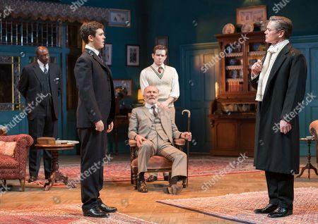 Misha Butler as Ronnie, Aden Gillett as Arthur, Theo Bamber as Dickie; Timothy Watson as Sir Robert Morton