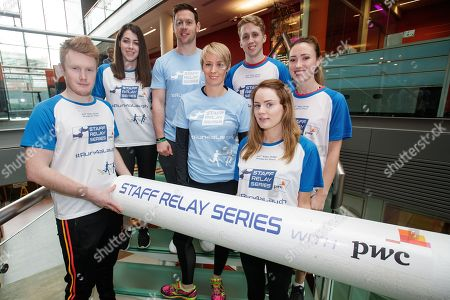 Editorial picture of PwC Staff Relay Series Launch with Philly McMahon and Derval O'Rourke, PwC Offices, Dublin  - 19 Feb 2018