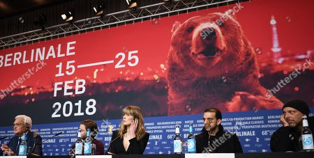 (L-R) Engineer Flight AF123 Jacques Lemoine, German  actor Daniel Bruehl, British actress Rosamund Pike, Moroccan actor Omar Berdouni and Brazilian film director Jose Padilha attend a press conference for '7 Days in Entebbe' at the 68th annual Berlin International Film Festival (Berlinale), in Berlin, Germany, 19 February 2018. The Berlinale runs from 15 to 25 February.