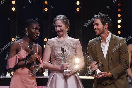 British actress Michaela Coel, actress Reka Tenki from Hungary and Belgian actor Matteo Simoni (L-R) pose with their awards at the European Shooting Stars 2018 award ceremony during the 68th annual Berlin International Film Festival (Berlinale), in Berlin, Germany, 19 February 2018. The Berlinale runs from 15 to 25 February.