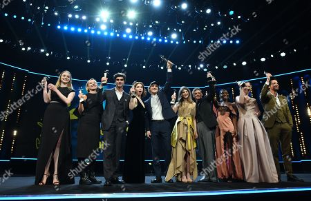 (L-R) Laureates and actors Luna Wedler from Switzerland, Alba August from Sweden, writer Irakli Kvirikadze from Georgia, Matilda De Angelis from Italy, Franz Rogowski from Germany, Eili Harboe from Norway, Jonas Smulders from The Netherlands, Michaela Coel from United Kingdom, Reka Tenki from Hungary and Matteo Simoni from Belgium pose with their trophies at the European Shooting Stars 2018 award ceremony during the 68th annual Berlin International Film Festival (Berlinale), in Berlin, Germany, 19 February 2018. The Berlinale runs from 15 to 25 February.