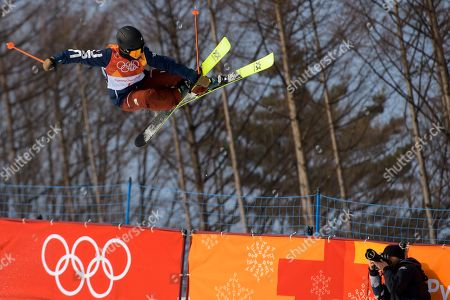 Stock Photo of Maddie Bowman of the United States in action during the Women's Freestyle Skiing Ski Halfpipe competition at the Bokwang Phoenix Park during the PyeongChang 2018 Olympic Games, South Korea, 20 February 2018.