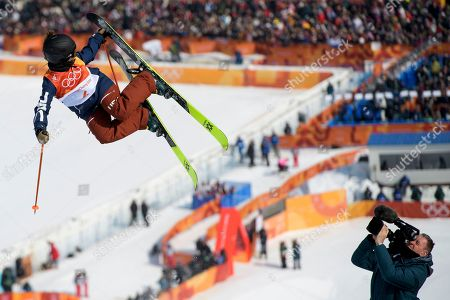 Stock Image of Maddie Bowman of the United States in action during the Women's Freestyle Skiing Ski Halfpipe competition at the Bokwang Phoenix Park during the PyeongChang 2018 Olympic Games, South Korea, 20 February 2018.