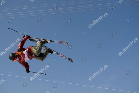 Stock Image of Gold medal Cassie Sharpe of Canada in action during the Women's Freestyle Skiing Ski Halfpipe competition at the Bokwang Phoenix Park during the PyeongChang 2018 Olympic Games, South Korea, 20 February 2018.