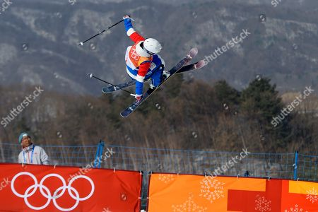 Stock Photo of Silver medal Marie Martinod of France in action during the Women's Freestyle Skiing Ski Halfpipe competition at the Bokwang Phoenix Park during the PyeongChang 2018 Olympic Games, South Korea, 20 February 2018.
