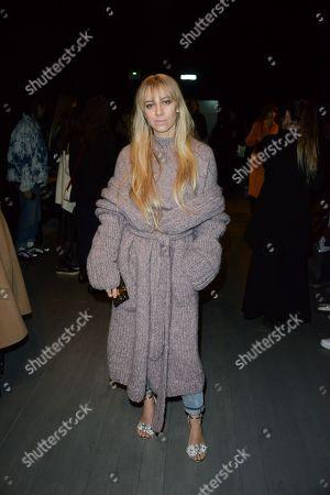 Editorial photo of Faustine Steinmetz show, Front Row, Fall Winter 2018, London Fashion Week, UK - 19 Feb 2018