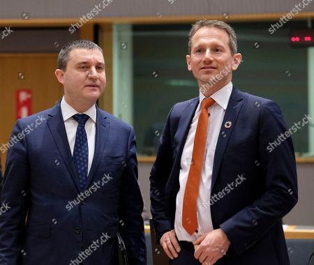 Bulgaria'Â?s Finance Minister Vladislav Goranov (L) and Danish Finance Minister Kristian Jensen during European Finance Ministers' meeting at the EU Council, in Brussels, Belgium, 20 February 2018.