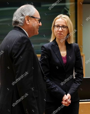 Polish Finance Minister, Teresa Czerwinska and Malta Finance Minister Edward Scicluna (L) during European Finance Ministers' meeting at the EU Council, in Brussels, Belgium, 20 February 2018.