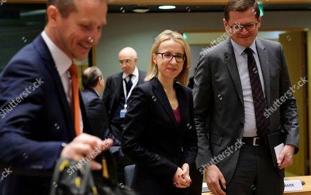 Polish Finance Minister, Teresa Czerwinska (C) and Danish Finance Minister Kristian Jensen (L) during European Finance Ministers' meeting at the EU Council, in Brussels, Belgium, 20 February 2018.