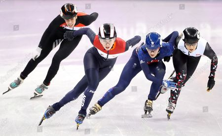 Elise Christie of Great Britain (2-R) Andrea Keszler of Hungary (L) Magdalena Warakomska of Poland (R) and Lara van Ruijven of the Netherlands (2-L) in action during the Women's Short Track Speed Skating 1000 m competition at the Gangneung Ice Arena during the PyeongChang 2018 Olympic Games, South Korea, 20 February 2018.