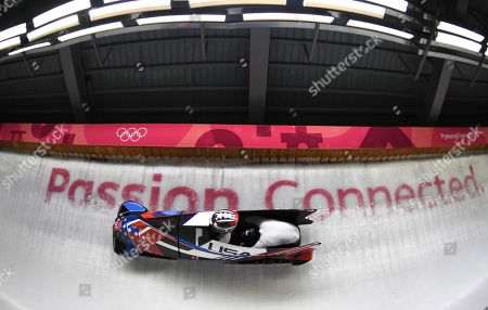 Jamie Greubel Poser and Aja Evans of the USA in action during the Women's Bobsleigh competition at the Olympic Sliding Centre during the PyeongChang 2018 Olympic Games, South Korea, 20 February 2018.