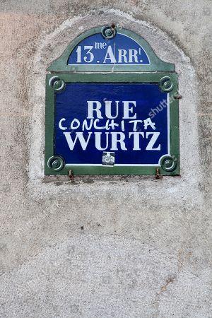 Stock Photo of Painted streetsign Rue Wurtz, Conchita Wurst, Paris, France