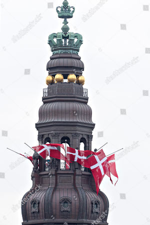 The national flag at the Danish Parliament Christiansborg Palace on half staff as the funeral service of Prince Consort Henrik of Denmark takes place at Christiansborg Palace Church (Christiansborg Slotskirke) in Copenhagen, Denmark, 20 February 2018. The 83-year-old French-born prince died at Fredensborg Castle on 13 February 2018.