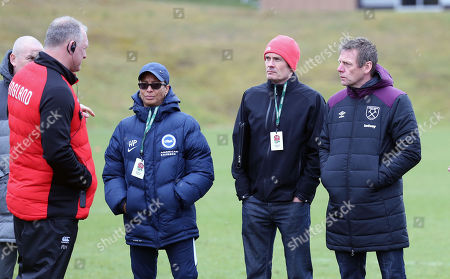 Stuart Pearce West Ham assistant manager (R) at England Rugby Training with Hope Powell,  women's first-team manager of Brighton & Hove Albion (centre) chatting to Richard Hill (L) - A League Managers Association Representative  (2nd R)