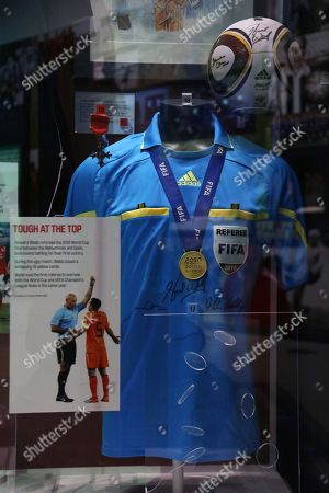 Stock Picture of 2010  World Cup final referee Howard Webb memorabilia.