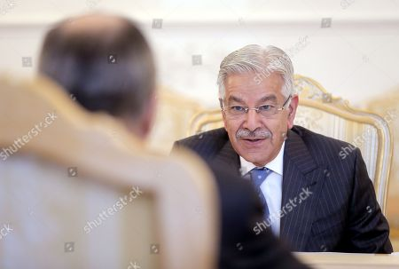 Pakistani Foreign Minister Khawaja Muhammad Asif (R) speaks with Russian Foreign Minister Sergei Lavrov (L) during their talks in Moscow, Russia, 20 February 2018. During his stay in Moscow, the foreign ministers will be holding official talks on bilateral relations as well as regional and international issues.
